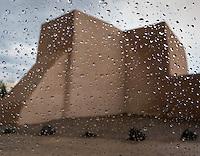 Rain on the car window at the San Francisco de Asis church in Ranchos de Taos in New Mexico.