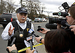 Pierce County Sheriff Paul Pastor talks to the media near the scene of a shooting that killed four Lakewood Police Officers in Lakewood on Sunday, Nov. 29, 2009.  At about 8:00 this morning, a gunman walked into the Forza Coffee shop while the four police officers were having coffee before their shift started and opened fire, killing all our law enforcement.  Jim Bryant Photo. ©2010. ALL RIGHTS RESERVED.