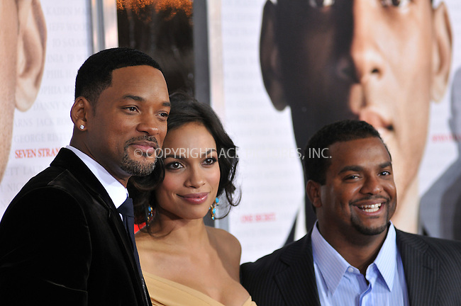 WWW.ACEPIXS.COM . . . . . ....December 16 2008, LA....Actors Rosario Dawson and Will Smith and actor Alfonso Ribeiro at the premiere of Columbia Pictures' 'Seven Pounds' at Mann's Village Theatre on December16, 2008 in Hollywood, California.....Please byline: JOE WEST- ACEPIXS.COM.. . . . . . ..Ace Pictures, Inc:  ..(646) 769 0430..e-mail: info@acepixs.com..web: http://www.acepixs.com