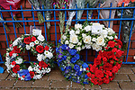 Tributes left in memorial at Ibrox Stadium to remember the 66 supporters who never made it back home on 2nd January 1971