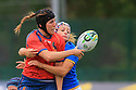 BELFAST, NORTHERN IRELAND - AUGUST 26: Spain's Marina Bravo and Italy's Michela Sillari clash during a final play off in the Women's World Cup Rugby 2017 at Queen's  University Belfast, Saturday,  August 26, 2017. Photo/Paul McErlane