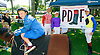 Jockeys and kids on PDJF Day at Delaware Park on 8/22/15