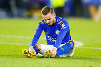 4th March 2020; King Power Stadium, Leicester, Midlands, England; English FA Cup Football, Leicester City versus Birmingham City; James Maddison of Leicester City sits on the turf after picking up an injury that led to his substitution