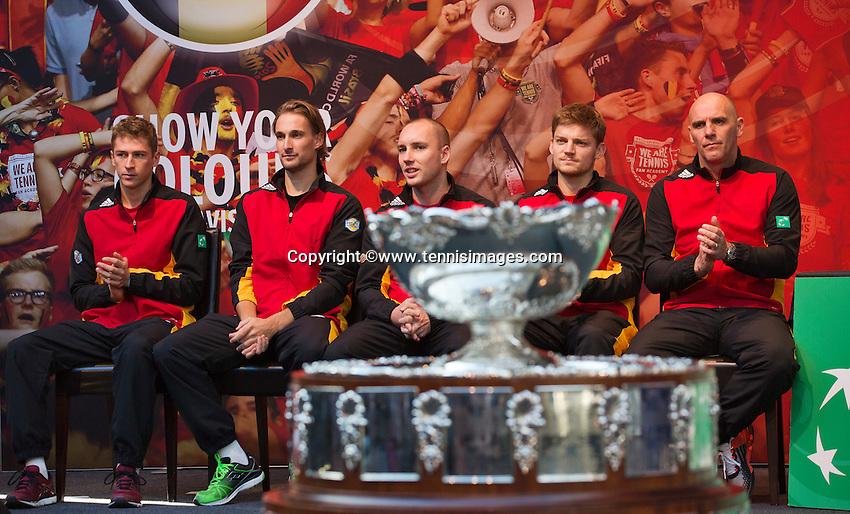 Gent, Belgium, November 26, 2015, Tennis, Davis Cup Final, Belgium-Great Britain, draw ceremonie, The team of Belgium<br /> Photo: Tennisimages/Henk Koster