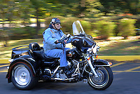 BENSALEM, PA - OCTOBER 5: Jim Donnelly, of Bensalem, Pennsylvania rides his motorcycle during the Libertae 10th Annual Biker's and Babes Ride October 5, 2014 in Bensalem, Pennsylvania.  Libertae, a women's substance abuse treatment center, hosted the event, which runs through Bucks County before ending at Core Creek Park. (Photo by William Thomas Cain/Cain Images)