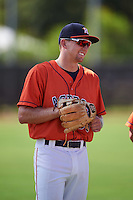 GCL Astros third baseman Brody Westmoreland (58) during warmups before the first game of a doubleheader against the GCL Mets on August 5, 2016 at Osceola County Stadium Complex in Kissimmee, Florida.  GCL Astros defeated the GCL Mets 4-1 in the continuation of a game started on July 21st and postponed due to inclement weather.  (Mike Janes/Four Seam Images)