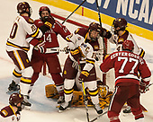 Brenden Kotyk (UMD - 10), Alexander Kerfoot (Harvard - 14), Dominic Toninato (UMD - 19), Hunter Miska (UMD - 35), Neal Pionk (UMD - 4), Lewis Zerter-Gossage (Harvard - 77) - The University of Minnesota Duluth Bulldogs defeated the Harvard University Crimson 2-1 in their Frozen Four semi-final on April 6, 2017, at the United Center in Chicago, Illinois.
