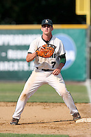 June 12, 2010:  Lindenhurst first baseman Jon McGibbon (7) vs Guilderland during the NYSPHAA Class-AA State Championship game at Binghamton University in Binghamton, NY.  Lindenhurst defeated Guilderland by the score of 15-2.  McGibbon was seleced in the 29th round by the Seattle Mariners of the 2010 MLB draft but chose to attend Clemson University to play for the Bulldogs.  Photo By Mike Janes/Four Seam Images