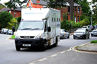 Pictured: A Prison van arrives at Newport crown court. Tuesday 21 August 2018<br /> Re: Austin Ross, 23, admitted setting fire to a masonic hall and school in Newport and daubing graffiti at a number of locations in the city.