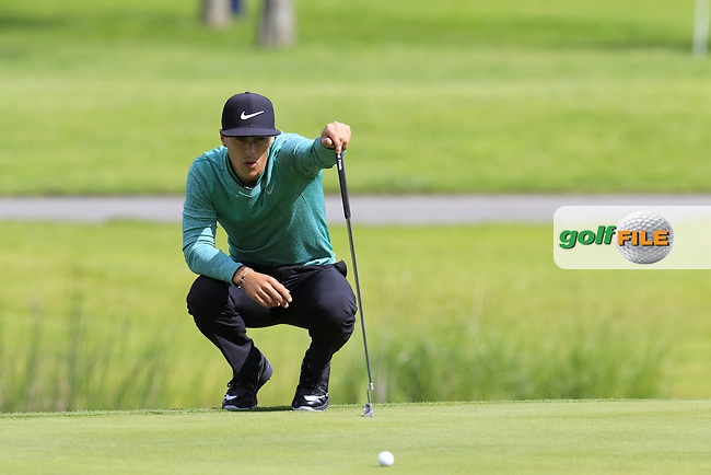Thorbjorn Olesen (DEN) lines up his birdie putt on the 12th green during Sunday's Final Round of the 2016 Dubai Duty Free Irish Open hosted by Rory Foundation held at the K Club, Straffan, Co.Kildare, Ireland. 22nd May 2016.<br /> Picture: Eoin Clarke | Golffile<br /> <br /> <br /> All photos usage must carry mandatory copyright credit (&copy; Golffile | Eoin Clarke)