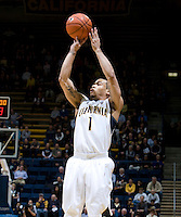 Justin Cobbs of California shoots the ball during the game against Utah at Haas Pavilion in Berkeley, California on January 14th, 2012.  California defeated Utah, 81-45.