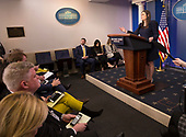White House Spokesperson Sarah Sanders holds a news briefing at the White House in Washington, DC, March 20, 2018. Credit: Chris Kleponis / CNP