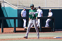 CARY, NC - FEBRUARY 23: Freddy Sabido #33 of Wagner College takes a lead off of third base in the top of the eleventh inning during a game between Wagner and Penn State at Coleman Field at USA Baseball National Training Complex on February 23, 2020 in Cary, North Carolina.