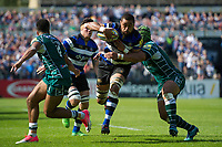 Taulupe Faletau of Bath Rugby takes on the London Irish defence. Aviva Premiership match, between Bath Rugby and London Irish on May 5, 2018 at the Recreation Ground in Bath, England. Photo by: Patrick Khachfe / Onside Images