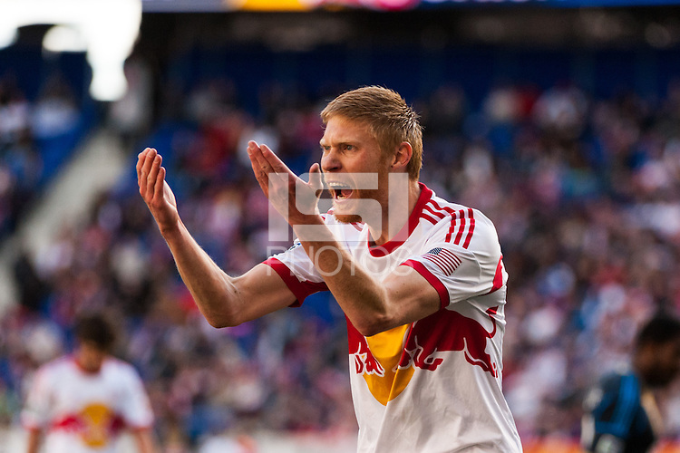 Markus Holgersson (5) of the New York Red Bulls reacts to a call. The New York Red Bulls defeated the Philadelphia Union 2-1 during a Major League Soccer (MLS) match at Red Bull Arena in Harrison, NJ, on March 30, 2013.