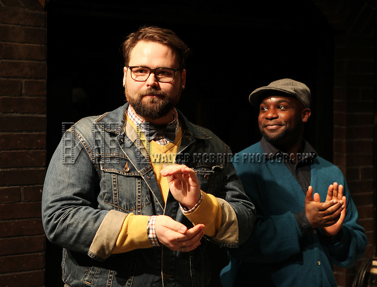 Eric Hoff (Director), Ike Holter (Playwright) attending the meet & greet the cast & creative team for the Off-Broadway Production of 'Hit The Wall' at Christopher Park & The Barrow Street Theatre in New York City on 2/01/2013