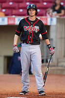 Lansing Lugnuts first baseman Kellen Sweeney #10 bats during a game against the Cedar Rapids Kernels at Veterans Memorial Stadium on April 29, 2013 in Cedar Rapids, Iowa. (Brace Hemmelgarn/Four Seam Images)