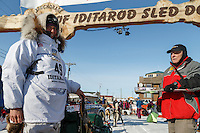 Laura Allaway at the finish line in Nome on Saturday March 21, 2015 during Iditarod 2015.  <br /> <br /> (C) Jeff Schultz/SchultzPhoto.com - ALL RIGHTS RESERVED<br />  DUPLICATION  PROHIBITED  WITHOUT  PERMISSION