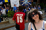 St Johnstone v Eskisehirspor....18.07.12  Uefa Cup Qualifyer.Beve Mayer sticks her head into shot as St Johnstone fans drinking and having fun with the Eskisehirspor fans.Picture by Graeme Hart..Copyright Perthshire Picture Agency.Tel: 01738 623350  Mobile: 07990 594431