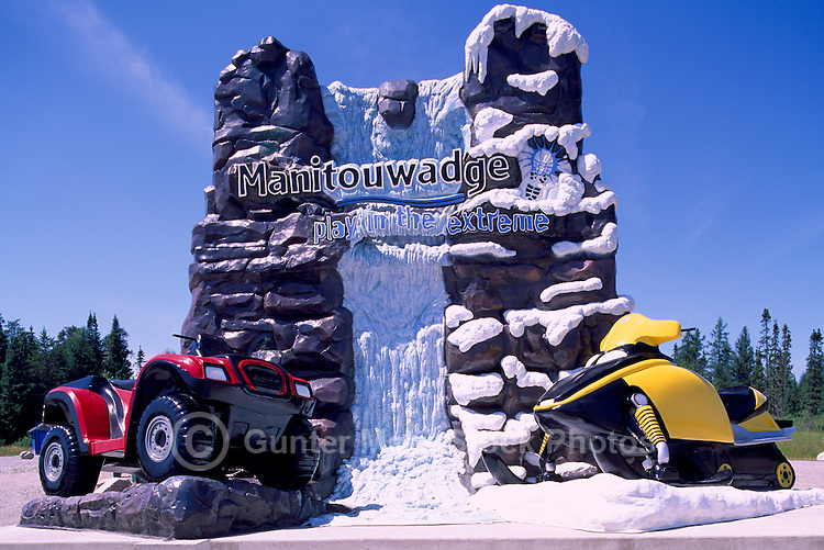 Welcome Sign to Town of Manitouwadge, ON, Ontario, Canada