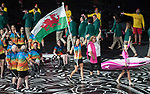 Wales Jazz Carlin leads out Team Wales during the opening ceremony<br /> <br /> *This image must be credited to Ian Cook Sportingwales and can only be used in conjunction with this event only*<br /> <br /> 21st Commonwealth Games - Wales Opening Ceremony - Carrara Stadium - 04/04/2018 - Gold Coast City - Australia