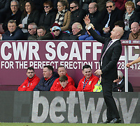 Burnley manager Sean Dyche shouts instructions to his team from the dug-out <br /> <br /> Photographer Rich Linley/CameraSport<br /> <br /> The Premier League - Burnley v Wolverhampton Wanderers - Saturday 30th March 2019 - Turf Moor - Burnley<br /> <br /> World Copyright © 2019 CameraSport. All rights reserved. 43 Linden Ave. Countesthorpe. Leicester. England. LE8 5PG - Tel: +44 (0) 116 277 4147 - admin@camerasport.com - www.camerasport.com