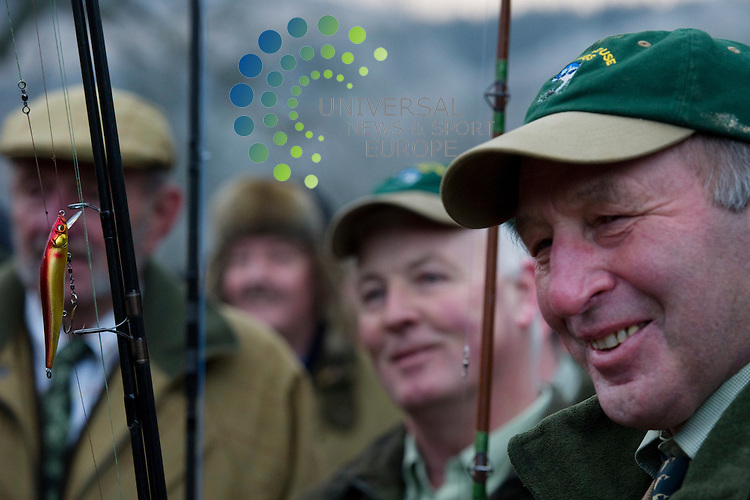 Anglers cast the first fly as the Scottish salmon season opens at Hilton Dunkeld House Hotel in Perthshire on the Tay, Scotland, 16th January, 2012..Picture:Scott Taylor Universal News And Sport (Europe) .All pictures must be credited to www.universalnewsandsport.com. (Office)0844 884 51 22.