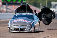 Aug 18, 2019; Brainerd, MN, USA; NHRA pro stock driver Jason Line during the Lucas Oil Nationals at Brainerd International Raceway. Mandatory Credit: Mark J. Rebilas-USA TODAY Sports