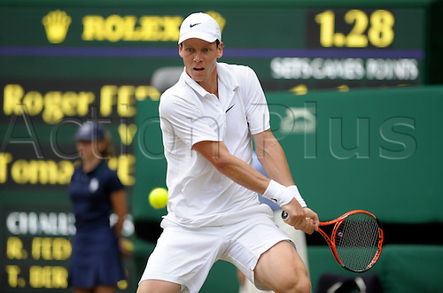 June 30th 2010 Wimbledon international tennis tournament. Held at the All England Lawn Tennis Club, London, England..Tommy Berdych CZE ending the reign of Wimbledon champion Roger Federer SUI in 4 sets on Centre Court.