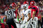 16FTB at Arizona 1556<br /> <br /> 16FTB at Arizona - Cactus Kickoff<br /> <br /> BYU Football defeated Arizona 18-16 in the Cactus Kickoff hosted at the University of Phoenix Stadium in Glendale, Arizona. It was also the first win for new Head Coach Kalani Sitake. <br /> <br /> September 3, 2016<br /> <br /> Photo by Jaren Wilkey/BYU<br /> <br /> &copy; BYU PHOTO 2016<br /> All Rights Reserved<br /> photo@byu.edu  (801)422-7322