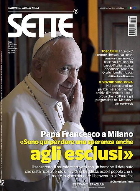 Sette Corriere della Sera Italian Magazine Pope Francis. 24 March, 2017. <br /> Photograph by Stefano Spaziani.