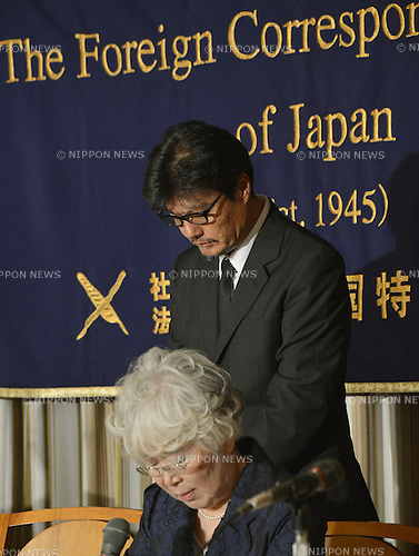 September 6, 2012, Tokyo, Japan - Kazutaka Sato, president of the independent news agency Japan Press, speaks during a news conference at Tokyo's Foreign Correspondents' Club of Japan on Thursday, September 6, 2012. ..Sato wears a black suit and black tie to mourn the death of his partner, free journalist Mika Yamamoto, who was shot and killed while covering Syria's civil war with Sato in the Al Halabi district of Aleppo on August 20, 2012. Yamamoto, 45, died of injuries in a hospital across the border in Turkey.  (Photo by Natsuki Sakai/AFLO) AYF -mis-.