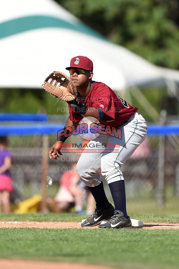 Mahoning Valley Scrappers catcher Juan De La Cruz (24) waits for a throw during a game against the Jamestown Jammers on June 15, 2014 at Russell Diethrick Park in Jamestown, New York.  Jamestown defeated Mahoning Valley 9-4.  (Mike Janes/Four Seam Images)