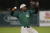 Beloit Snappers third baseman Miguel Sano #33 throws during a game against the Kane County Cougars at Fifth Third Bank Ballpark on June 26, 2012 in Geneva, Illinois. Beloit defeated Kane County 8-0. (Brace Hemmelgarn/Four Seam Images)