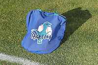An Ogden Raptors ball bag sits on the field during media day on June 14, 2014 at Lindquist Field in Ogden, Utah. (Stephen Smith/Four Seam Images)