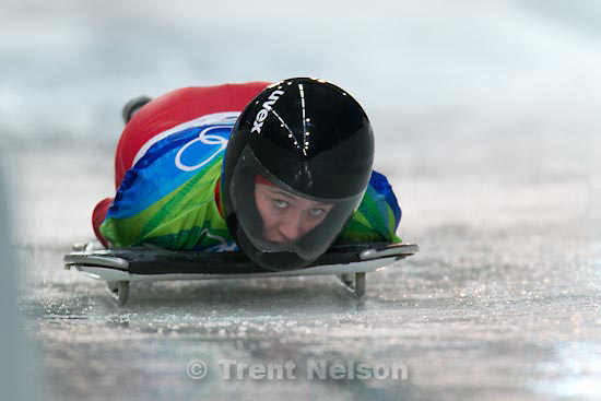 Trent Nelson  |  The Salt Lake Tribune.Women's Skeleton, at the XXI Olympic Winter Games in Whistler, Thursday, February 18, 2010. Romania's Maria Marinela Mazilu