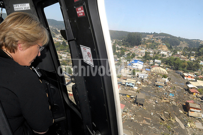 President of Chile Michelle Bachelet visits the area hit by a earthquake in Concepcion, southern Chile