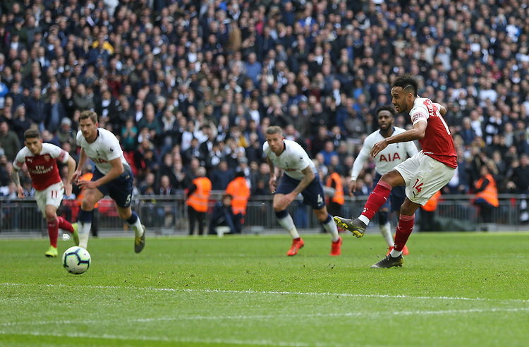 Arsenal's Pierre-Emerick Aubameyang misses a late penalty<br /> <br /> Photographer Rob Newell/CameraSport<br /> <br /> The Premier League - Tottenham Hotspur v Arsenal - Saturday 2nd March 2019 - Wembley Stadium - London<br /> <br /> World Copyright © 2019 CameraSport. All rights reserved. 43 Linden Ave. Countesthorpe. Leicester. England. LE8 5PG - Tel: +44 (0) 116 277 4147 - admin@camerasport.com - www.camerasport.com