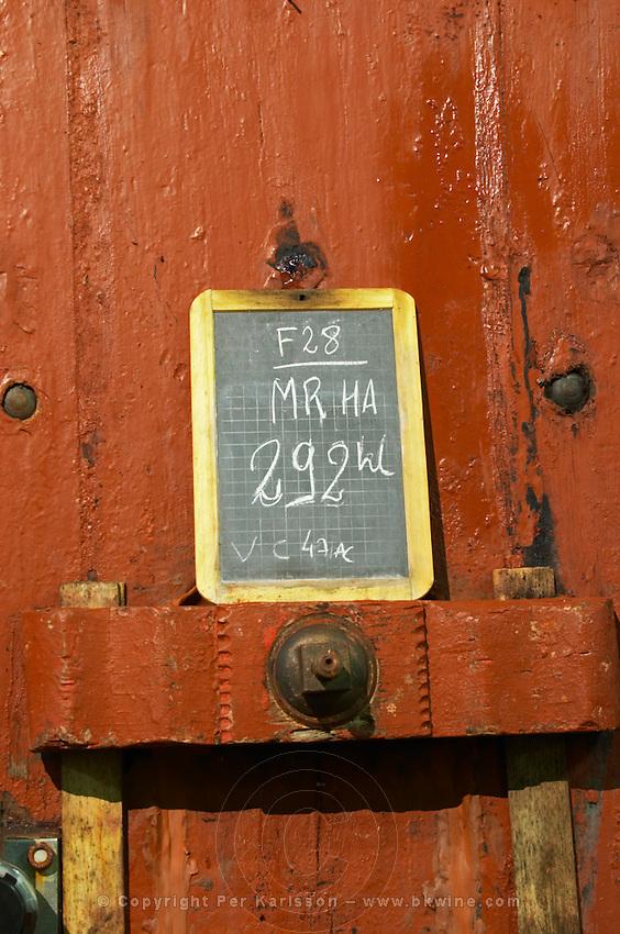 Storage vats. Sign. Mas Amiel, Maury, Roussillon, France