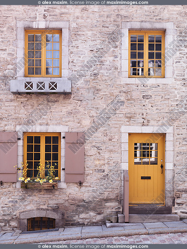 Door and windows of a historic house in Old Quebec City, architectural details. Quebec, Canada. Place Royale, Ville de Québec.