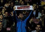 4th November 2017, Camp Nou, Barcelona, Spain; La Liga football, Barcelona versus Sevilla; FC Barcelona supporter with a 'freedom' banner
