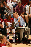 8 October 2005: Foluke Akinradewo with John Dunning during Stanford's 3-1 loss to Washington at Maples Pavilion in Stanford, CA.