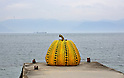 "March 19, 2016, Kagawa, Japan - The ""Yellow Pumpkin"", an installation art produced by Yayoi Kusama of Japan is displayed at Naoshima island in Kagawa prefecture, Japan's southern island of Shikoku on Friday, March 19, 2016 as a part of Setouchi Triennale 2016. Setouchi Triennale art festival started at islands of Setonaikai mediterranean sea from March 20 through November 6.  (Photo by Yoshio Tsunoda/AFLO) LWX -ytd-"