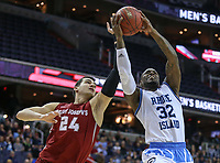 Washington, DC - March 10, 2018: Rhode Island Rams guard Jared Terrell (32) gets fouled by Saint Joseph's Hawks forward Pierfrancesco Oliva (24) during the Atlantic 10 semi final game between Saint Joseph's and Rhode Island at  Capital One Arena in Washington, DC.   (Photo by Elliott Brown/Media Images International)