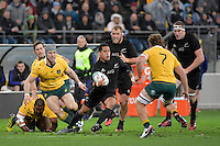All Blacks' Aaron Smith in action during the All Blacks v Wallabies. The Rugby Championship &amp; Bledisloe Cup at Westpac Stadium, Wellington, New Zealand on Saturday 27 August 2016.<br /> Photo by Masanori Udagawa. <br /> www.photowellington.photoshelter.com.