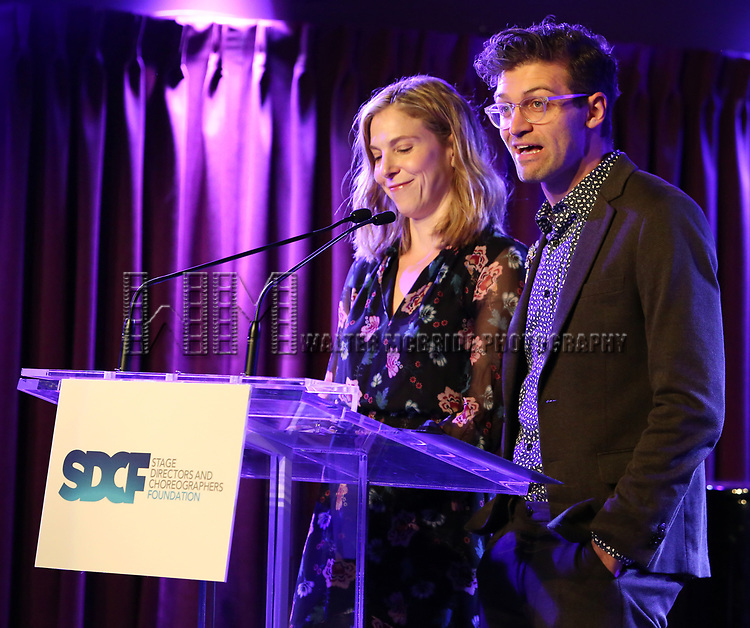 Carolyn Cantor and Sam Pinkleton on stage during the Second Annual SDCF Awards, A celebration of Excellence in Directing and Choreography, at the Green Room 42 on November 11, 2018 in New York City.
