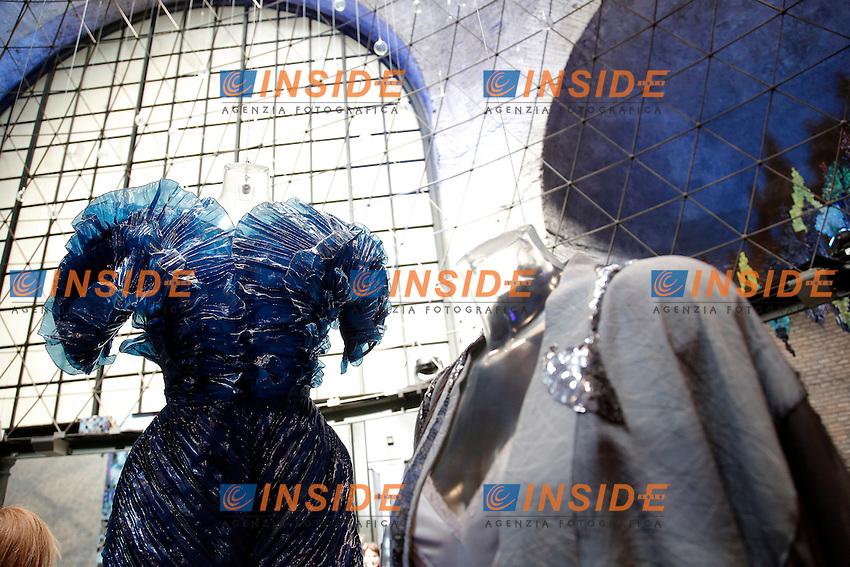 Krizia<br /> Roma 03-04-2016 Terme di Diocleziano. Mostra 'In Acqua: H2O molecole di creativita'. Decine di stilisti hanno creato, per l'occasione, abiti, accessori e gioielli che richiamano l'acqua.<br /> Diocleziano Thermae. Exhibition 'In water: H2O molecules of creativity'.Tens of famous stylists created dresses, accessories and jewels that recall water.<br /> Photo Samantha Zucchi Insidefoto