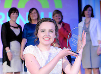 Kaithlin Corcoran, Presentation Secondary School Tralee, pictured after she won the Young Entrepreneur of The Year Award 2013 at The  Malton Hotel  Killarney on Thursday night with her teachers, Roisin Moore, Noirin O'Grady,  Lillian O'Connor and Ann O'Mahony.<br /> Kathlyn Corcoran of Presentation Secondary School in Tralee is a self-professed fashion addict who once stopped Hilary Clinton on the street in New York. &ldquo;Hilary even allowed me to try on her Emilio Pucci coat&rdquo; she told the audience.  She also wrote to Kate Middleton with ideas for her wedding dress and got a personal response.   Kathlyn was chosen from over 350 projects and 443 second level students who participated in 6th Young Entrepreneur Programme. Last night, she pitched their businesses to 700 people at the Malton Hotel in Killarney. She will celebrate with a trip to New York where they&rsquo;ll be hosted by Credit Suisse and learn how technology start-ups work in the Big Apple.<br /> Picture: Don MacMonagle. NO REPRO.. FREE PR PHOTO