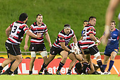 Sean Bagshaw carries the ball forward. Mitre 10 Cup game between Counties Manukau Steelers and Tasman Mako's, played at ECOLight Stadium Pukekohe on Saturday October 14th 2017. Counties Manukau won the game 52 - 30 after trailing 22 - 19 at halftime. <br /> Photo by Richard Spranger.