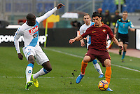 Roma&rsquo;s Diego Perotti, right, is challenged by Napoli&rsquo;s Kalidou Koulibaly during the Italian Serie A football match between Roma and Napoli at Rome's Olympic stadium, 4 March 2017. <br /> UPDATE IMAGES PRESS/Riccardo De Luca